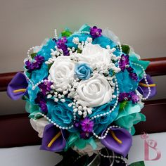 purple and aqua wedding | bridal wedding bouquet in purple aqua teal tiffany blue and turquoise ...