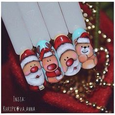 Top Nails Design My Second Favorite Nail Art Noel, Xmas Nail Art, Holiday Nail Art, Xmas Nails, New Year's Nails, Christmas Nail Art Designs, Winter Nail Art, Best Nail Art Designs, Beautiful Nail Designs