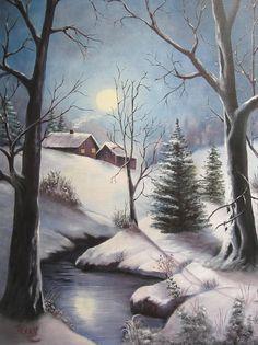 January Moonlight Painting