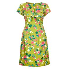 1960s Lime Green and Rose Print Dress