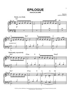 """Epilogue"" Sheet Music from 'La La Land' by Justin Hurwitz from OnlineSheetMusic.com"