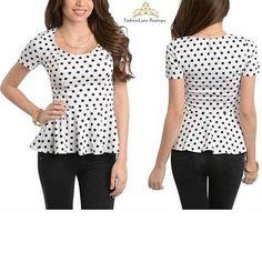 Black White Polka Dots Peplum Top