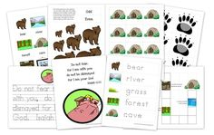 Bear Hunt Printable Pack. Cards for sequencing the story, beginning sound cards, size sorting game, hiding the bear on the pocket chart game. Good stuff!