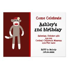 Girls Sock Monkey Birthday Party Invitations