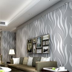 European Style 3D Embossed Non-woven Wallpaper Rolls for Wall Modern Simple Water Ripples Wave Lines Wall Covering Room Decor #Affiliate