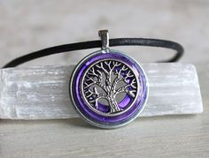 purple tree of life necklace mens necklace tree by NatureWithYou