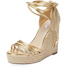 Elorie Elorie Women's Dillon Espadrille Wedge - Gold - Size 10 ($159) ❤ liked on Polyvore featuring shoes, sandals, gold, ankle strap sandals, platform sandals, platform espadrilles, gold wedge sandals en ankle wrap espadrille