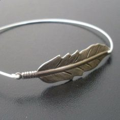 Silver Feather Bracelet Feather Bangle Bracelet by FrostedWillow, $16.95