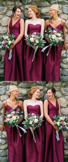 A-Line V-Neck Floor-Length Fuchsia Satin Bridesmaid Dress