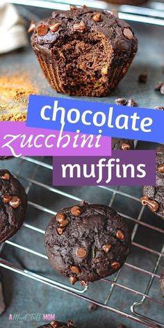 Chocolate Zucchini Muffins are packed with zucchini and double the chocolate for a muffin that tastes like dessert, yet healthy enough for breakfast. These Healthy Chocolate Zucchini Muffins are made with whole grains, refined sugar free, and packed with Double Chocolate Zucchini Muffins, Chocolate Muffins, Healthy Chocolate, Chocolate Desserts, Sugar Free Zucchini Muffins, Bake Zucchini, Homemade Chocolate, Chocolate Chips, Healthy Muffin Recipes