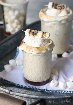 This gorgeous and decadent Toasted Marshmallow Milkshake is the perfect make-ahead dessert for when you're hosting a winter dinner party or entertaining friends.