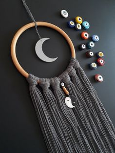 Moon Dream Catcher, Gray Bamboo Hoop Wall Hanging, Rustic Country Wall Decor, Farmhouse Home Decor Summer Style, Modern Minimalist Boho Art. – The Best Ideas Picture Frame Hangers, Picture Frame Decor, Country Wall Decor, Diy Holz, Felt Brooch, Hand Of Fatima, Hamsa, New Home Gifts, Wooden Beads