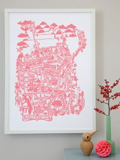 san francisco poster in pink...  i dont live here but i love the city!