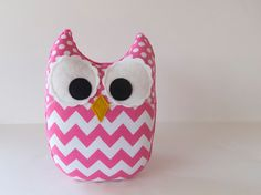 Hey, I found this really awesome Etsy listing at http://www.etsy.com/listing/126942411/hot-pink-chevron-owl-plush-baby-toy-mini