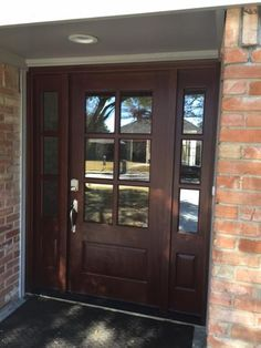 Steves & Sons Savannah 6 Lite Stained Mahogany Wood Prehung Front Door with Sidelites M6410-123012-CT-4IRH at The Home Depot - Mobile