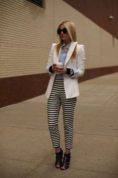 28dfe764cb5e2d Atlantic-Pacific  buttoned up shirt with blazer and striped pants Hippies