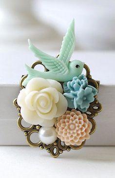 Bird Brooch. Flowers and Blue Bird Collage Brooch