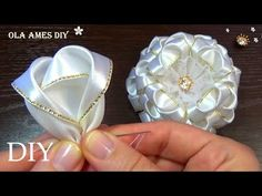 Baby Shoes Pattern, Shoe Pattern, Adult Crafts, Diy Crafts, Ribbon Flower Tutorial, Satin Ribbon Flowers, Ribbon Sculpture, Paper Roses, Hair Bows