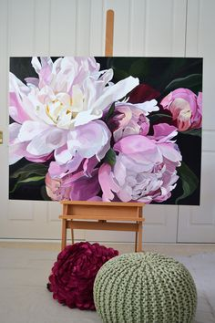 OLIVIA  $3,950    120 x 90cm.  Deep Edge Canvas (3.5cm) Acrylics with Oil Glaze. Pink and white peonies with buds.  One flow