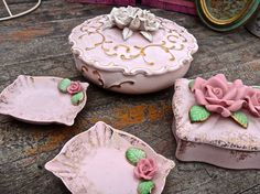 Porcelain Box SET Pink Rose Box Pink Box with Lid Occupied