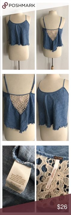 "Free People denim crop top Free People denim crop top. Size S. Measures 20"" long wth a 36"" bust. Adjustable straps. Very good used condition!  🚫NO TRADES🚫 💲Reasonable offers accepted💲 💰Ask about bundle discounts💰 Free People Tops Crop Tops"
