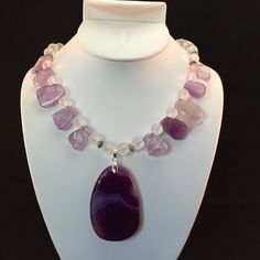 Amethyst and frosted glass necklace, gemstone bead necklace, purple necklace, natural gemstone, amethyst pendant necklace, matte glass by HaydeeDesigns on Etsy https://www.etsy.com/listing/233796280/amethyst-and-frosted-glass-necklace #handmade #jewelry #etsyshop #jewelrydesign #jewelryonetsy #giftforher