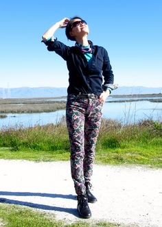 Navy jean shirt and flower pants