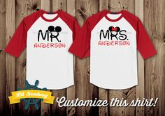 3/4 or Short Sleeve Mr. and Mrs. Disney Shirts Mr. by LilSeabag