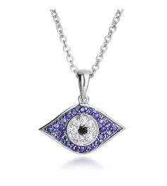Jordan Scott - Love & Luck 14K White Gold Sapphire Evil Eye