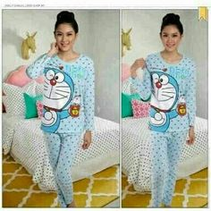 St. Doraemon Polka 60.000 Bahan spandek fit to L