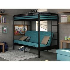 Dorel Twin Over Futon Metal Bunk Bed Dorm Furniture Kid's Loft Mattress Dorm New | eBay