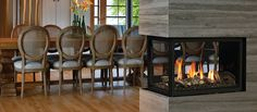 Introducing the Marquis Atrium fireplace, a three sided fireplace or also called a multi sided gas fireplace made by a Canadian fireplace manufacturer with Fireplace Stores, Home Fireplace, Fireplace Remodel, Modern Fireplace, Living Room With Fireplace, Fireplace Design, Gas Fireplaces, Fireplace Ideas, Double Sided Gas Fireplace