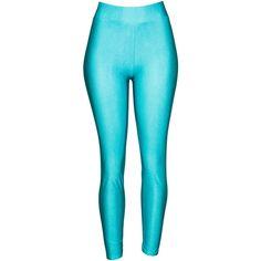 Shiny Leggings Ragstock ($12) ❤ liked on Polyvore featuring pants, leggings, shiny pants, blue pants, shiny leggings, wet look pants and wetlook leggings