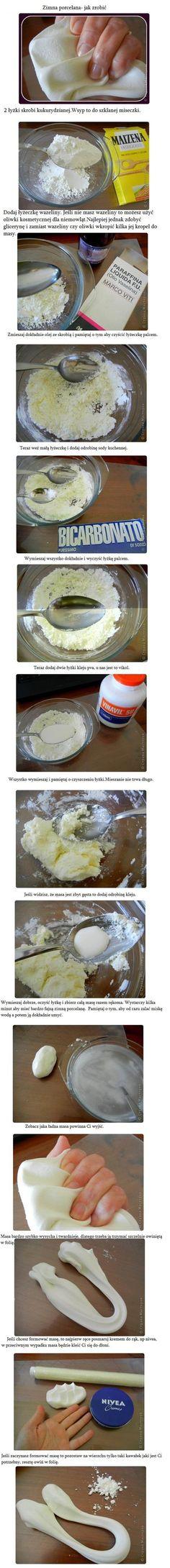 Zimna porcelana, bez gotowania- przepis ////// itsetehtyä posliini-muovailuvahaa askartelua varten; maissijauho-parafiiniöljy-leivinjauhe taikina.