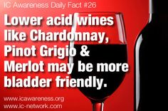 IC Awareness Month Daily Fact #26 - Is it safe to drink wine when you have IC, BPS or prostatitis? Some patients CAN enjoy lower acid varietals such as Chardonnay or Merlot but many others choose to avoid it. Learn more about our wine and check out our list of more bladder friendly wines here! http://www.ic-network.com/ic-awareness-daily-fact-26-wine-icbps/  Can you drink wine?? If so, what works for you? What do you do to reduce the effect of the wine?