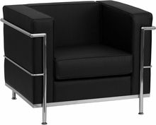 Regal Series Black Leather Lounge Chair with Chrome Frame