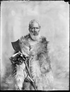 Portrait of an unidentified elderly Maori man with a beard, wrapped in a (dog?) skin cloak. He stands, looking at the camera, holding a tehwatewha in one hand.Photograph taken by Frank Denton