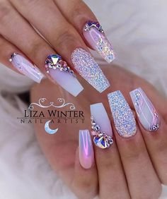 50 Magical Unicorn Nail Art DesignsMany people have a passion for unicorn nails. And Unicorn nails are becoming a unique trend. If you think you have a different opinion, you should take a closer look Cute Spring Nails, Cute Nails, Pretty Nails, Summer Acrylic Nails, Best Acrylic Nails, Summer Nails, Rhinestone Nails, Bling Nails, Bling Nail Art