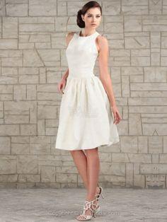 A-line Scoop Satin Knee-length Draped Ivory Wedding Dresses