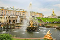 The main attraction in Peterhof is the beautiful Lower Park with 150 fountains and 4 cascades.  Saint Petersburg, Russia
