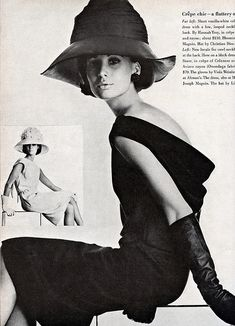 Brigitte Bauer in black crèpe dress with a cowl back by Frank Starr, hat by Lilli Dachè: inset white crèpe dinner dress by Hannah Troy, hat by Christian Dior, photo by Penn, Vogue US, March 1963