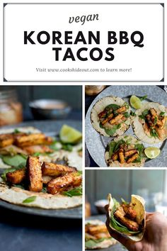 Korean BBQ Tofu Tacos are easy to make, spicy and very addictive. Tofu is baked in a spicy sweet marinade made with gojuchang, maple syrup and sesame oil. #cookshideout #vegan #tacos Tofu Recipes, Grilling Recipes, Asian Recipes, Vegetarian Recipes, Cooking Recipes, Tofu Tacos, Bbq Tofu, Vegan Tacos