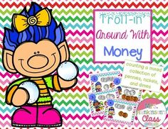 counting pennies, nickels, and dimes; first grade money Classroom Money, Money Activities, Cut And Paste, Pennies, Task Cards, First Grade, Counting, School Ideas, Math