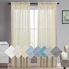 Sheer Curtains Linen Textured Curtains for Living Room 52 x 84 Inch Natural Rod Pocket Window Panel, Linen Look Burlap Curtain Home Fashion Natural Linen Rich Quality Curtain, 2 Panels, Beige