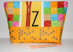 Z for Zipper pouch featuring Bright and Buzzy fabric by Laurie Wisbrun