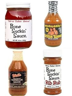 This North Carolina BBQ Gift Set features three fullsize bottles of different barbecue sauces representing each style found in NC: Eastern vinegar (Wells Hog Heaven), Western/Lexington tomato-vinegar (Bone Suckin' Sauce), and tangy mustard (JohnBoy & Billy's Grillin' Sauce), plus a bottle of Bone Suckin' Rib Rub, all for only $24.95 here: http://www.carolinasauces.com/North_Carolina_BBQ_Gift_Set_Mild_p/hsc-nc-bbq-set-mild.htm Also available in a HOT version on the same site