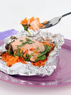 Salmon, Spinach and Sweet Potato Rice Foil Packets - Inspiralized.com (paleo)