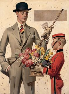 J.C. LEYENDECKER Flowers For The Lady Oil on Canvas 27.25″ x 19.75″