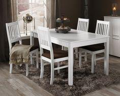 HANNA-ruokailuryhmä valkoinen (pöytä 140X85 cm+4 tuolia, verhoiltu istuin)