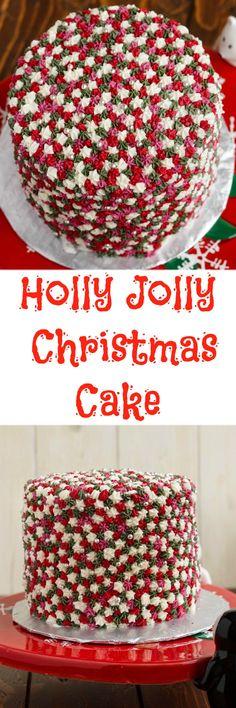 Easy Star Tip Christmas Cake Decorating Idea - Holly Jolly Christmas #Christmas